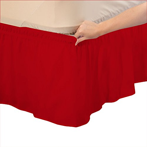 Relaxare Twin XXL 600TC 100% Egyptian Cotton Blood Red Solid 1PCs Wrap Around Bedskirt Solid (Drop Length: 24 inches) - Ultra Soft Breathable Premium Fabric