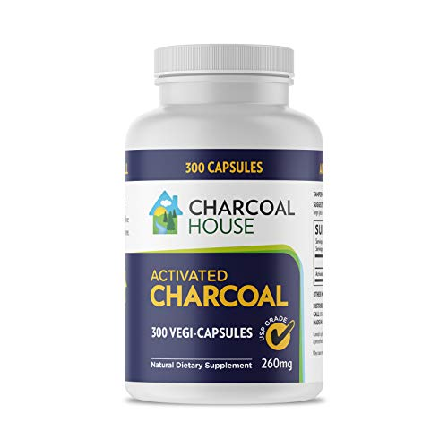 300 caps USP Activated Charcoal Capsules 260mg - Vegan 100% Pure Coconut Shell Charcoal No Filler