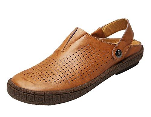 Mebox Sandals Mens Genuine Leather Sandals Mebox Closed Toe Slip