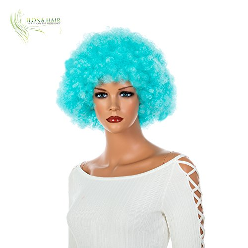 Light Blue Afro Wig Clown for Woman and Man Party and Halloween Black White Blue Pink Purple Yellow Orange Green Curly Hair Small Clown Wig Afro LUX (DF13)