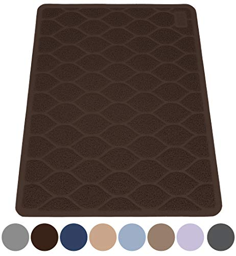 MIGHTY MONKEY Premium Cat Litter Trapping Mats, Phthalate Free, Best Scatter Control, Jumbo XL Sizes, 35 x23 inches, Mat Traps Litter, Easy to Clean, Soft on Kitty Paws, Mocha (Lays Mocha)