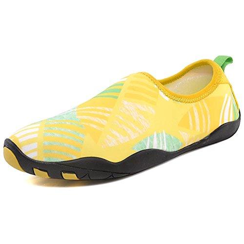 HOBIBEAR Männer Aqua Wasser Schuhe Schnell Trocknende Rutschfeste Multifunktionale Für Strand Pool Surf Rock Rafting Hellgelb