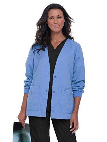 Landau Essentials Women's Cardigan Warm-up Scrub Jacket Ceil Blue - Essential Jackets Blue