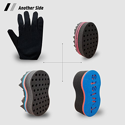 Big Holes Barber Magic Twist Sponge Curl Glove(Right) Brush Twist Hair Kit Tutorial,For Different Styles Dreadlock Curling Twist Afro Coils Wave Men and Women Hair Care Tool Set of 4(Blend)