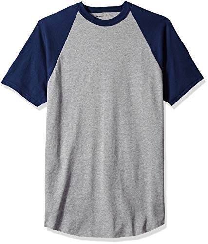Soffe Men's Short Sleeve Baseball Tee, Althletic Oxford/Navy, Extra Large