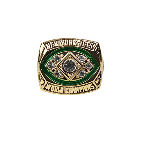 (GF-sports store Replica Championship Ring 1968 York Jets Gift Fashion Gorgeous Collectible Ring)