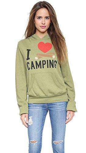 Wildfox Women's I Heart Camping Hoodie, Mossy Rock, Medium