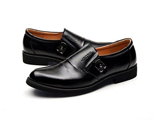 GRRONG Zapatos De Cuero De Los Hombres De Ocio De Moda Negro Marrón Black