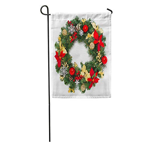Semtomn Garden Flag Green Decorated Christmas Wreath White Advent Balls Branch Classic Closeup Home Yard House Decor Barnner Outdoor Stand 28x40 Inches Flag