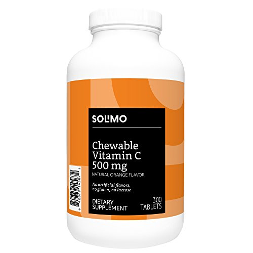 Amazon Brand - Solimo Chewable Vitamin C 500mg, Natural Orange Flavor, 300 Tablets, Ten Month Supply