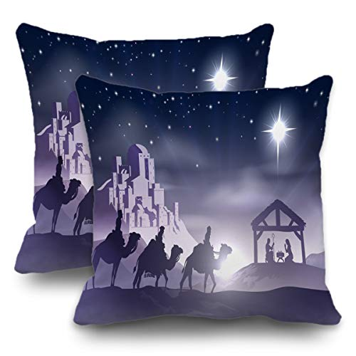 Batmerry Set of 2 Merry Christmas Decorative Pillow Covers 18x18 inch,Christian Christmas Nativity Jesus Religious Double Sided Throw Pillow Covers Sofa Cushion Cover