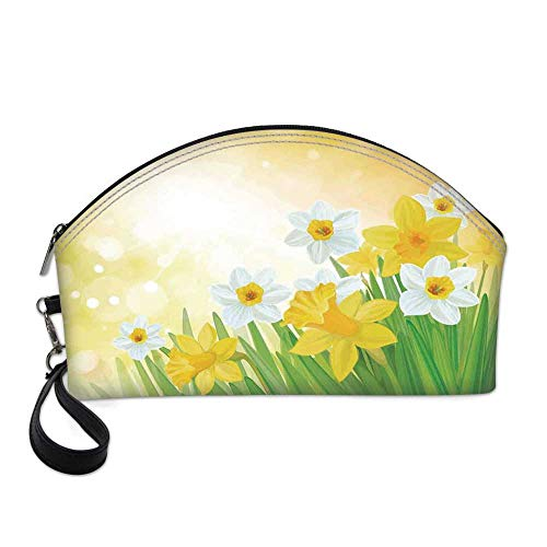 Daffodil Small Portable Cosmetic Bag,Daffodils Garden Narcissus Rebirth and New Beginnings Celebration Graphic For Women,One size