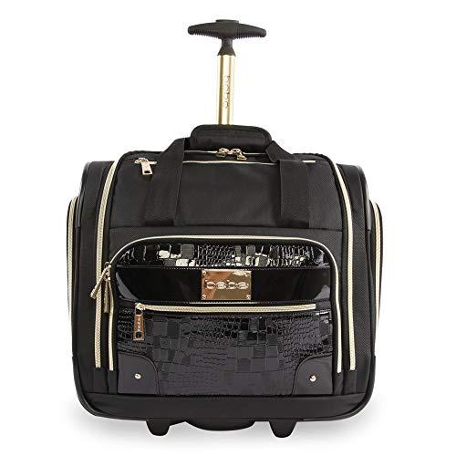 BEBE Women s Danielle-Wheeled Under The Seat Carry On Bag, Black Croc