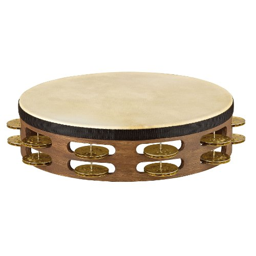 Meinl Percussion TAH2V-WB 10-Inch Vintage Wood Tambourine with Goat Skin Head and Hammered Brass Jingles, 2 Row ()