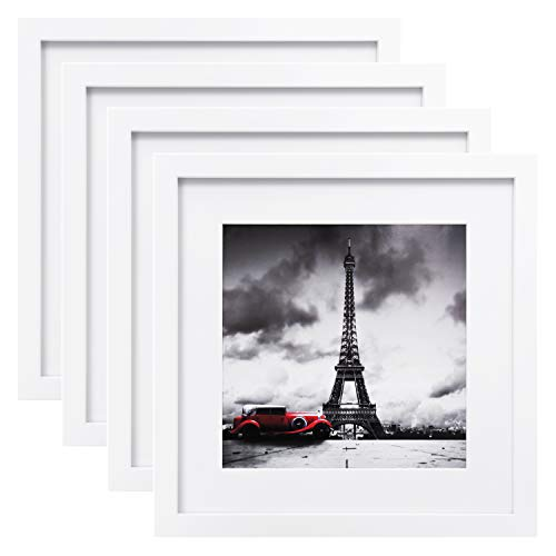Egofine 11x11 Picture Frames 4 PCS, Display Pictures 4x4/8x8 with Mat Made of Solid Wood for Table Top Display and Wall Mounting Square Photo Frame White (Frame Square Picture White)