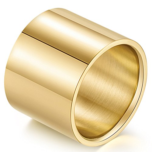 Fashion Month Men Women Gold 18mm Wide Stainless Steel Ring Cool Wedding Engagement Big Band High Polished Comfort Fit Size 12 -