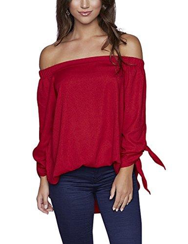Just Quella Women's Off Shoulder Loose Shirt Blouse 8422 (XXL, Claret Red)