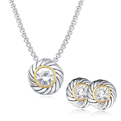 (UNY Unique Fahsion Jewelry Sets Designer Inspired CZ inlaid 2 Tone Womens Valentine's (White))