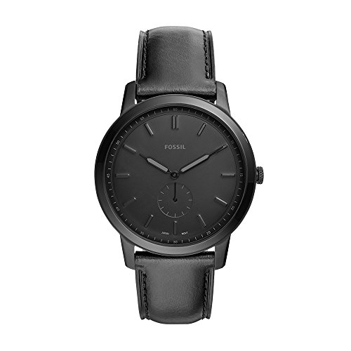 Fossil Men's The The Minimalist - Mono Stainless Steel Analog-Quartz Watch with Leather Calfskin Strap, Black, 22 (Model: FS5447
