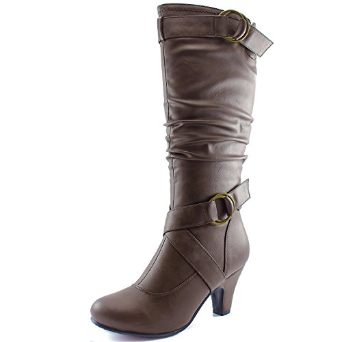 Dailyshoes Women's Slouchy Mid Calf Strappy Boots with Ankle and Top Straps - 2'' Heel Fashion Boots,11 B(M) US,brown pu by DailyShoes