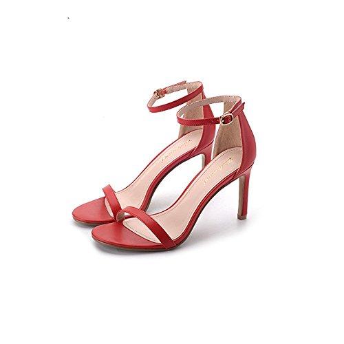 oro pecora 2018 Sottile argento Rossa Toe nuovo di Pecora e uno nera di tacco 34 alto 6cm 6cm sandali pattini Heeled Punta scarpe ZHANGYUSEN con High con Estate AF7qxdww
