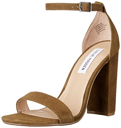 Steve Madden Women's Carrson Dress Sandal, Black, Medium Olive Suede