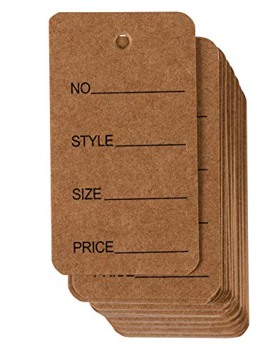 Price Tags - 1000-Pack Cloth Tags, Garment Tags, Writable Tags, Hang Labels, Size Name Style Tag, Kraft Paper Tag, for Business, Retail, Shop, Natural Brown, 1.5 x 2.7 Inches ()