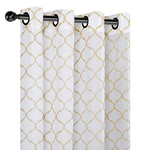 um Semi Sheer Flocked Lattice Grommet Curtains - Assorted Colors (Gold) ()