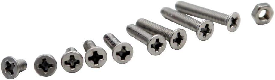 Mcbazel 340 PCS Stainless Steel 304 Cross Countersunk Head Screw Set Box with Nut Flat Head Screw M3