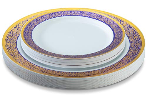 32 Piece White, Gold and Blue Plastic Plates Set, Elegant Plastic Dinnerware Set for 16 Guests Includes 16 Fancy Disposable Dinner Plates 16 Dessert Plates - Posh Setting