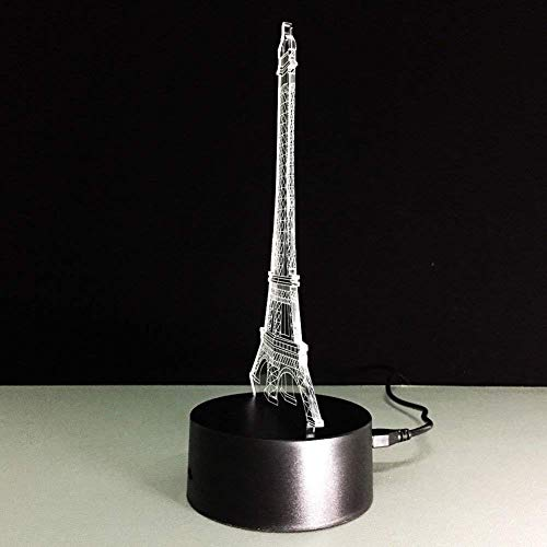 WOZUIMEI Night Light 3D Luminous Visual Light 7 Color Change USB Battery-Powered Touch/Touch Touch Desk Console Lamp Nice Gifts Home Decorations, Eiffel Tower