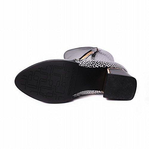 Mee Shoes Damen Reißverschluss chunky heels Stiefel Schwarz