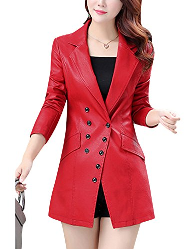 Tanming Women's Button Front Faux Leather Blazer Coat Jacket (Large, Red)