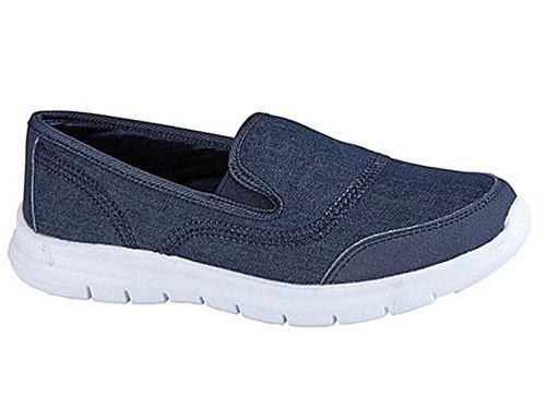 Ladies Reef Go Walk Style Slip On Mesh Comfort Trainers Pumps Shoes Size 4-8 Denim ZZzPTa7h