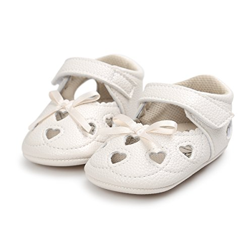 Meckior Infant Baby Girls Sandas Summer Soft Leather No-slip Princess Shoes (12-18months, A-beige)