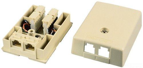Allen Tel Products AT104-6-52 USOC Wiring 2 Ports 6 Position 2-6 Conductor Surface Mount Duplex IDC Outlet Jack, Electric (Tel Products Mount Plate)