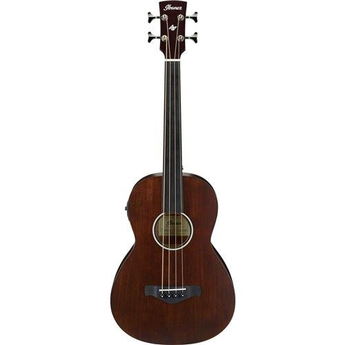 Ibanez AVNB1FEBV Parlor Body Fretless Acoustic Electric Bass (Brown Violin Open Pore) - Acoustic Electric Fretless Bass Guitar