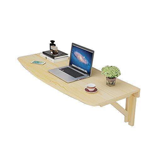 Mesa Mesa suspendida de Pared, Tablas de Estudio de Escritorio de computadora Plegable de Pared de Madera Maciza Ahorro de Espacio Ángulo de Arco (Color : Wood Grain, Tamano : 120 * 40cm)