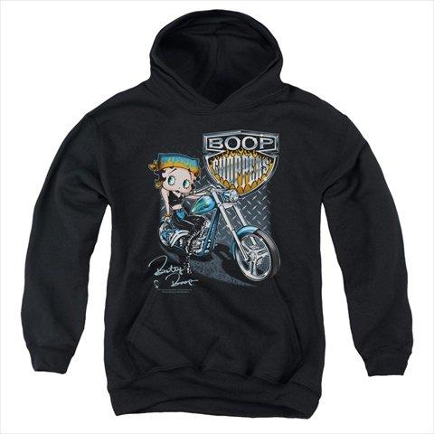 Trevco Boop-Choppers - Youth Pull-Over Hoodie44; Black - Medium