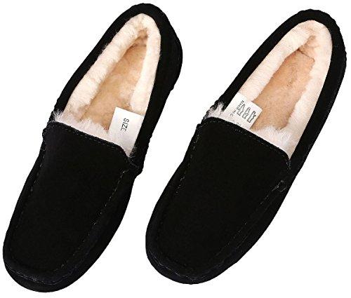 U-lite Womens Slipper In Lana Di Pelo Casual Flat Indoor & Outdoor Mocassino Slip-on, Ciabatte Da Taglio Mocassino Per Donna Nero (pelle Scamosciata Di Vacchetta)