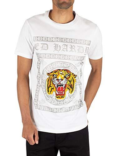Ed Hardy Men's Tiger Tile T-Shirt, White, M