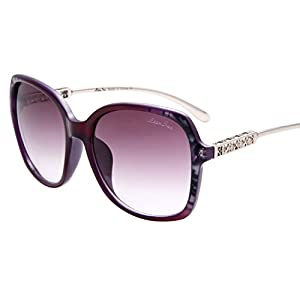 LIANSAN Polarized Womens Oversized Sunglasses - Designer PC Frame Eyeglasses Purple LSP506