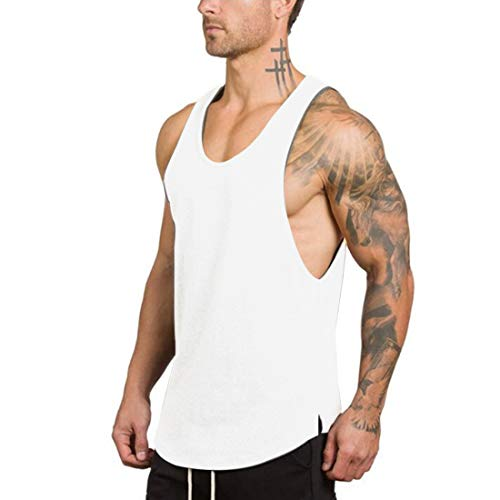 GZXISI Men's Gym Bodybuilding Stringer Tank Top Muscle Workout Shirt Fitness Sleeveless Vest (Large, 2 White)