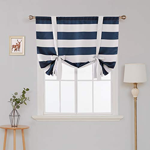 Deconovo Navy Blue Striped Blackout Curtains Rod Pocket Nautical Navy and Greyish White Striped Curtains Tie Up Curtain for Kids Room 46W X 45L Navy Blue 1 -