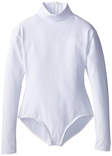 Capezio Big Girls' Team Basic Turtleneck Long Sleeve Leotard with Snaps, White, Medium