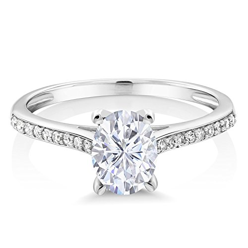 10K White Gold Solitaire w/Accent Stones Ring Timeless Brilliant (IJK) Oval 1.50ct (DEW) Created Moissanite