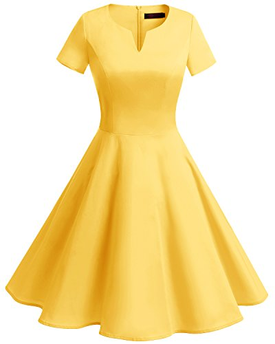 Bridesmay Women's Vintage 1950s Dress V-Neck Short Sleeves Retro Swing Dress Yellow 2XL