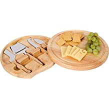 Trademark Innovations Bamboo Cheese Board and Tools Set with Swivel Base
