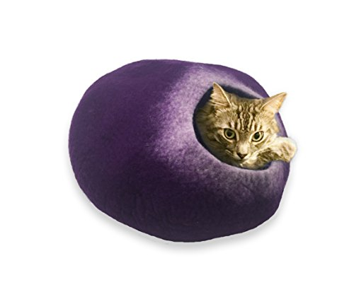 Purple Cat Bed - Walking Palm Cat Cave - Purple and White