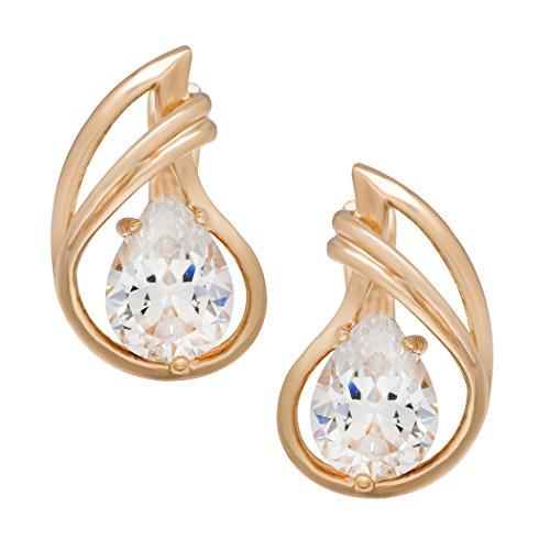 Real Spark(TM) Women 18K Gold Plated Teardrop Zircon Accented Stud Earrings Girlfriend - Coffee Cloisonne